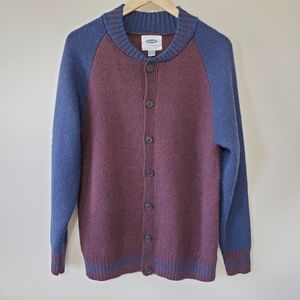 Old Navy Burgundy and Navy Button Cardigan Sz L